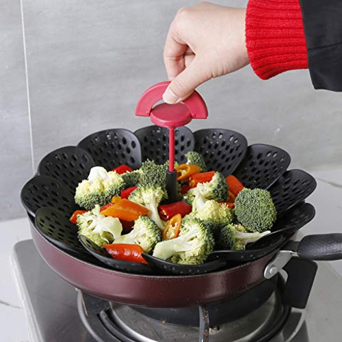 Wffo 2019 New Lotus Type Retractable Folding Fruit Basket Insert for Pots Pans, Crock Pots Portable Steamer Folding Basket Non-Scratch BPA-Free (Best Crock Pots 2019)