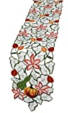 Xia Home Fashions Harvest Squash Embroidered Cutwork 8 by 62-Inch Fall Table Runner, Mini
