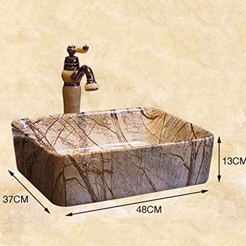 樹脂洗面台天然石楕円形埋め込みバスルーム長方形洗面台レトロな創造的な大理石セラミックホテル抗スプラッシュ洗面台