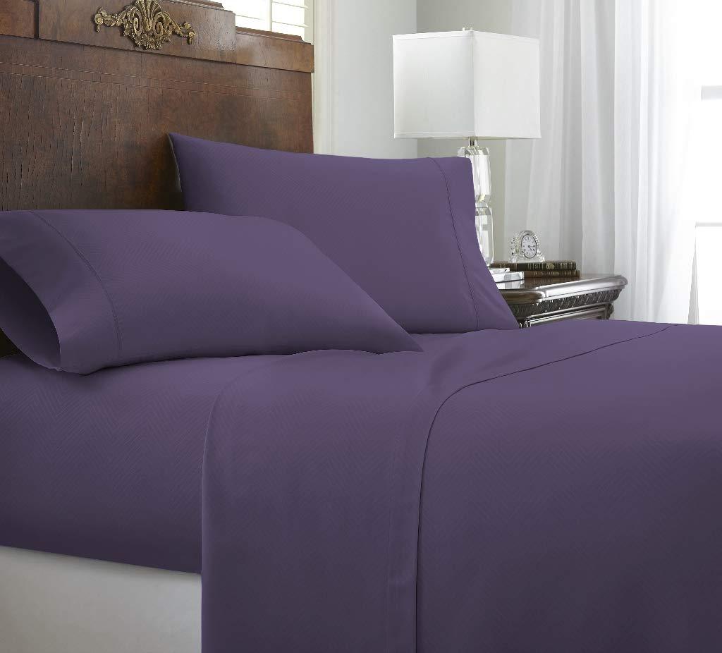 Soft Essentials Premium Embossed Chevron Design 4 Piece Bed Sheet Set (California King - Purple)(Pack of 12)