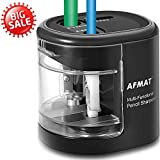 Electric Pencil Sharpener Battery Operated, Colored Pencils Sharpener for Kids, USB Sharpeners with Double Holes and Replaceable Blades, for 6-12mm No.2 & Drawing Pencils, School, Artists, Black