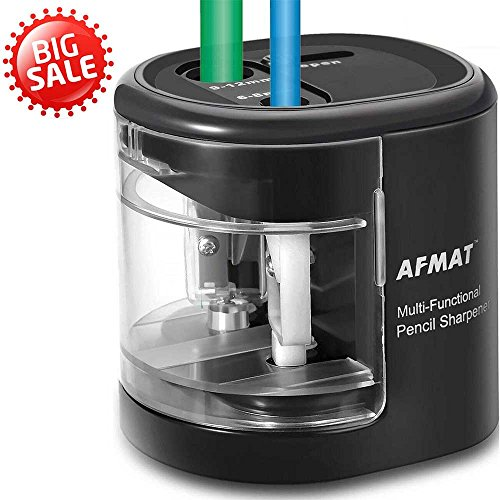 Electric Pencil Sharpener Battery Operated, Colored Pencils Sharpener for Kids, USB Sharpeners with Double Holes and Replaceable Blades, for 6-12mm No.2 & Drawing Pencils, School, Artists, Black by AFMAT