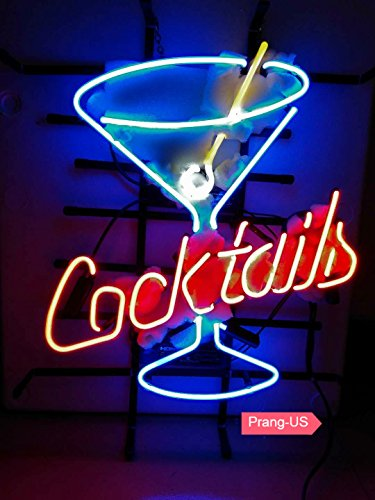 Prang-US Martini Cocktails Neon Signs 17×14 inch, Real Neon Signs Made with Glass Tubes, Brilliant Neon Open Sign. Eye-catching Neon Beer Sign.