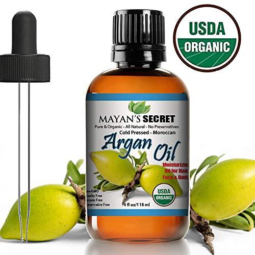 USDA Certified Organic Argan Oil For Hair, Skin, Face, Nails, Beard and Cuticles - Best 100 Percent  Pure Moroccan Anti-Aging, Anti-Wrinkle Beauty Secret, Cold Pressed Moisturizer 4 Ounce