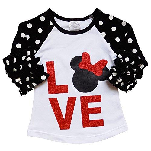 (Big Girl Kids Polka Dot Ruffle Shiny Love Cotton Shirt Top Tee T-Shirt White 8 XXXL (300568))
