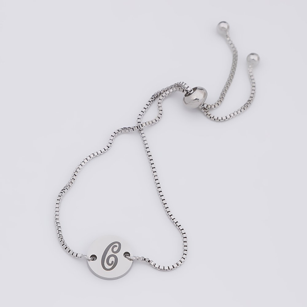 TUSHUO Silver Tone Simple Stainless Steel Personality Art 26 Letter Bracelet for Anyone (C) by TUSHUO (Image #2)