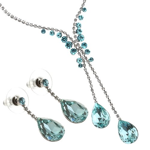 Swarovski crystals jewellery set, Twin Pear drop CZ crystals hang from two-tier chain of pure Swarovski crystals. So many crystals in a delicate formation of cup chains and filigree. Dangling (Twin Peaks Costumes)