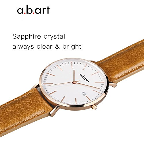 a.b.art FB36-000-3L Analog Leather Strap Rose Gold Case LadyWatch (watches Brown) by a.b.art (Image #5)