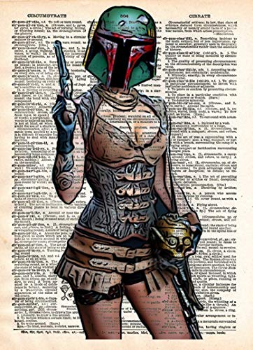 Boba Fett pin up girl, star wars art, sexy star wars, cool pop art, vintage dictionary art print ()