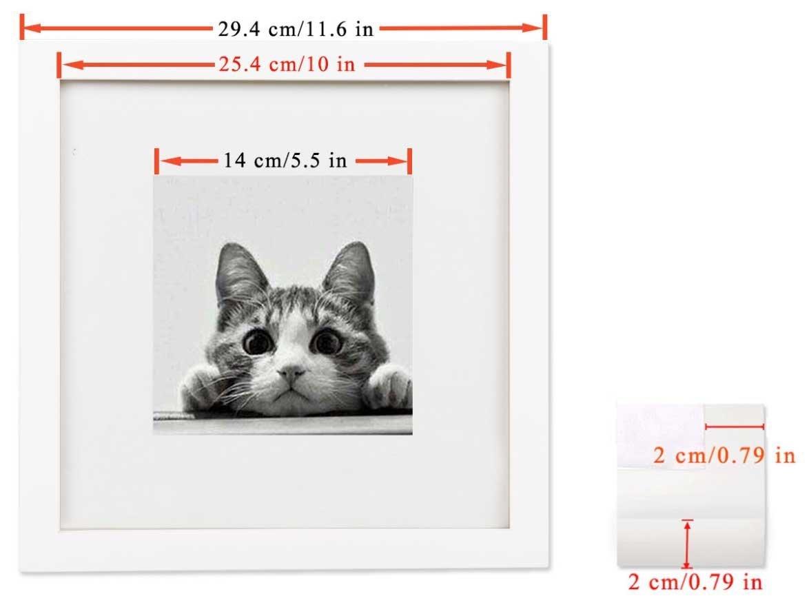 BOJIN Bilderrahmen 25x25 CM(10x10 Inch) Quadratische Posterrahmen ...
