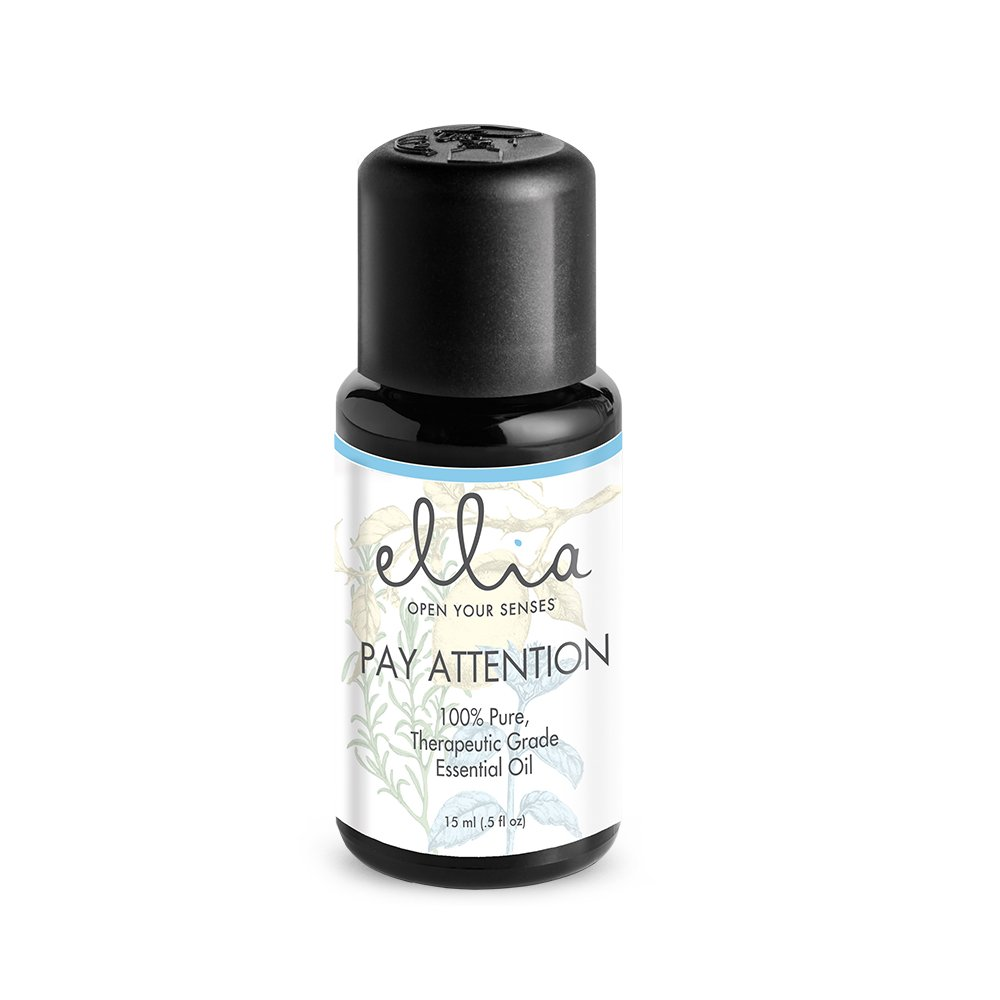 Pay Attention Blend Aromatherapy Essential Oil 15 mL, 100% Pure, Therapeutic Grade Aromatherapy Healing Blend of Lemon, Basil, Rosemary, Peppermint & Clary Sage Ellia, 15 mL
