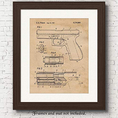 Original Glock Gun Patent Art Poster Prints, Set of 1 (11x14) Unframed Photo, Great Wall Art Decor Gifts Under 15 for Home, Office, Studio, Garage, Student, Cowboys, Owner, Action Movies & NRA Fan