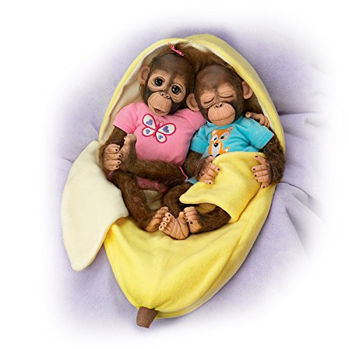 Cindy Sales Lifelike Vinyl Twin Monkey Doll Set with Fleece Banana Bunting by The Ashton-Drake Galleries