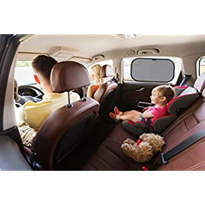 Car Sun Shade (3 pack) Stops 98% of Harmful UV Rays. Best Coverage and Protection for Your Children and Baby with 3 Shades for Side Windows. Sticks with Static Cling. Free Storage Pouch Included