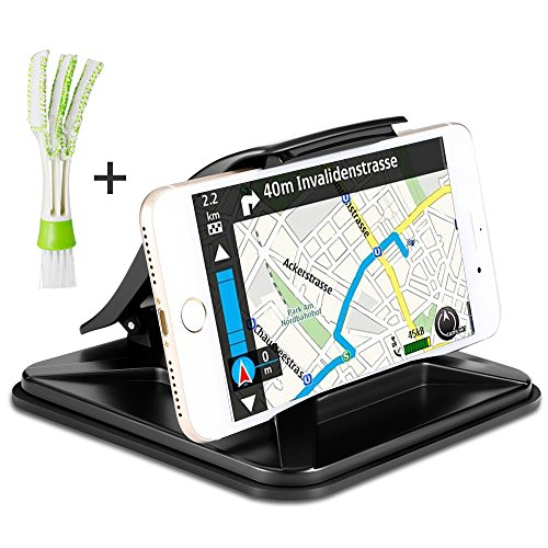 AFUNTA Car Dashboard GPS Holder with Mini Duster, Non-Slip Cell Phone Mount Cradle Compatible iPhone Samsung Galaxy or 3 - 7 inch Smartphone GPS Devices, with Air Vent Cleaner Brush