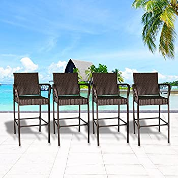 cloud mountain set of 4 outdoor wicker rattan bar stool outdoor patio furniture bar stool chairs brown