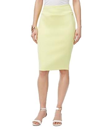0ce8991259 Thalia Sodi Scuba Pencil Skirt (Pear Passion, L) at Amazon Women's Clothing  store:
