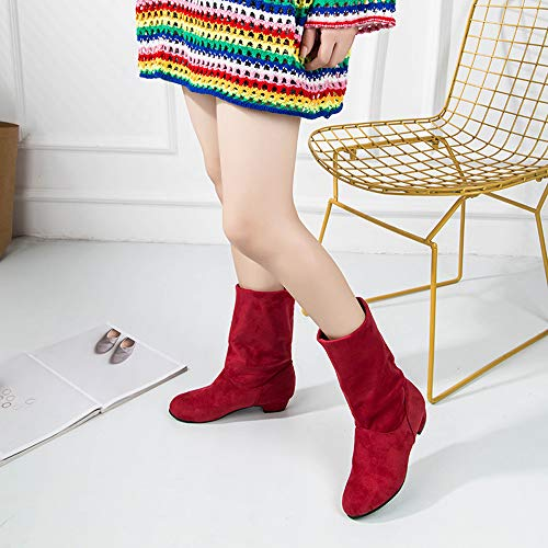 Chaussures Compens Bazhahei Slouch Bottines 5 Rond Rouge Martin Slip Taille on Femmes Faux Centrale Plat Dames Carr 2 Tube En Daim Bottes 8 Talon Bout 0zx08