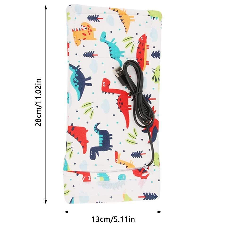 R/échauffeur de biberon USB Delaman Portable Lait de voyage Chauffe-couvercle Couverture de rangement Isolation Thermostat Donut Couleur : Dinosaur-Pattern
