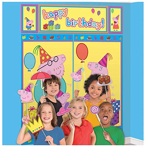 Amscan Peppa Pig Scene Setters with Photo Booth Props