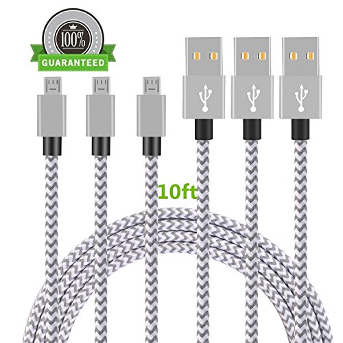Micro USB Cable, Asstar [3 Pack] 10FT Extra Long Premium Nylon Braided USB to Micro USB Charging Cord Android Charger for Samsung Galaxy S7 / S6 / S5 /Edge,HTC,LG,Nexus (10ft) (Galaxy Case S2 Samsung Batman)