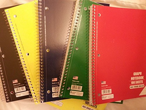 "Norcom 77105-12 10.5"" X 8"" Quad Ruled Notebook Assorted Colo"
