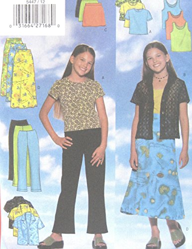 Girls Fitted Shirt Pullover Top A Line Skirt Boot Leg Pants Sewing Pattern Butterick 5447 Size 12-14-16