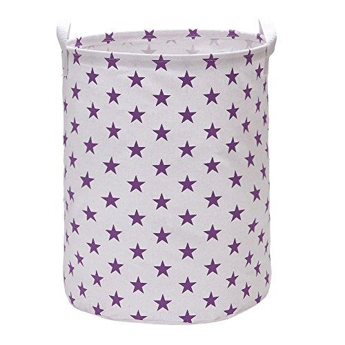 Hodleys Vagon Laundry Hamper Bucket Cylindric Burlap Canvas Storage Basket with Stylish Stars Design (Purple)