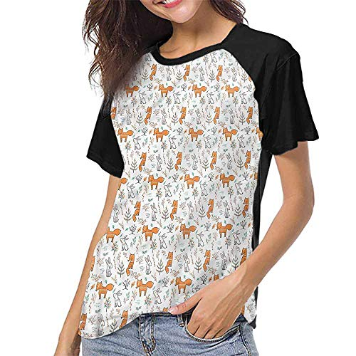 (Raglan Baseball Tee Short Sleeve,Doodle,Vintage Woodland Rabbit Fox S-XXL(This is for Size Small),Women Fashion Shirts)