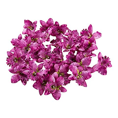 30Pack Lovely Orchid Artificial Flower for DIY Work Home Wedding Party Decor (Dark Purple)