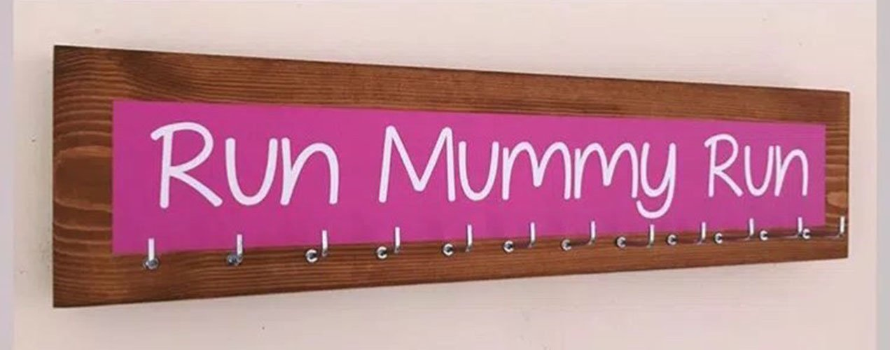 Running / Sports Medal display hanger. 12 hook. Pink Colour splash. run Mummy run