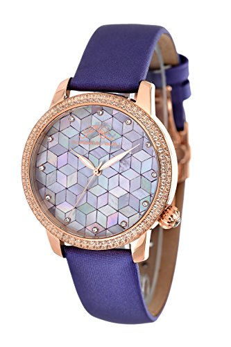 Porsamo Bleu Evelyn Satin Covered Genuine Leather Women's Topaz Mosaic Watch 763CEVS (Strap Satin Watch Mop)