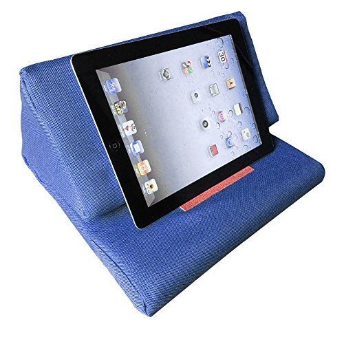 iPad Pillow Stand, Skiva EasyStand Pad Pillow Stand for iPad Air & iPad 4/3/2/1Nexus/Galaxy ,Tablet Computer Holder Sofa Reading Stand (Jean Blue) (Pillow Tablet Case)