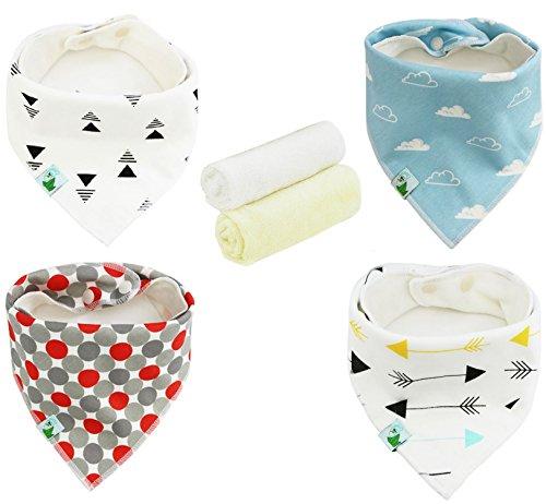 Baby Bandana Drool Bibs with 1 FREE Washcloth, Unisex Bibs with Snaps - Best for Babies Drooling, Teething and Feeding - Soft, Absorbent & Hypoallergenic - Perfect Baby Shower Gift for Boys & Girls