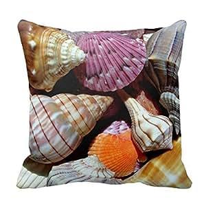 "Colorful Seashells Cushion Throw Pillows Square Decorative Throw Pillow Cover Retro 16""X 16"" (Twin Sides) Pillowcase Cushion Cover"