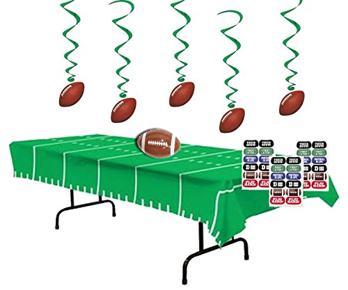 Football Party Decorations - Football Whirls (5),Game Day Football Tablecover, Inflatable Football for Centerpiece and Football Face Tattoos (Tailgating Decorations)