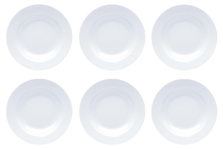 22 cm /Ø Teller tief Assiettes en porcelaine Blanc Assiette Assiettes creuses Assiette /à dessert Lot de 6/Assiette /à p/âtes bol Kit mod/èle de s/élection Porcelaine