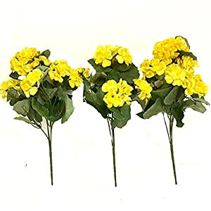MARJON Flowers35cm Artificial Yellow Geranium Flower Bush x3 - Great for Window Boxes Hanging Baskets and Home 53