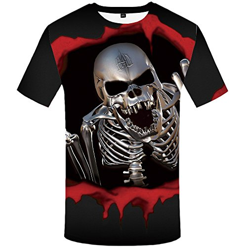 Tee Womens Skull (KYKU Blood Skull T Shirt Men 3D Printed T-Shirt Short Sleeve Funny Punk Tee)