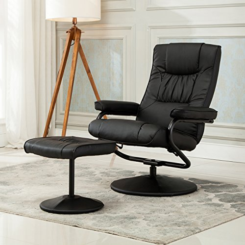 Belleze Modern Contemporary Black Bonded Leather Soft Recliner Chair and Ottoman Set with Wrapped Base - Office Reclining Ottoman