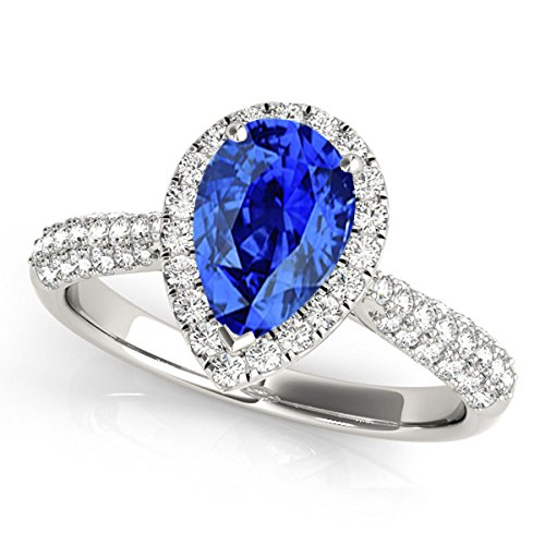 1 Ct. Ttw Diamond And Pear Shaped Tanzanite Ring In 10K White Gold