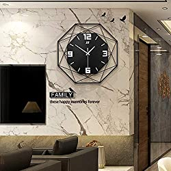 Fleble Modern Large Wall Clock Decorative 13.8 inch Digital Non-Ticking Quartz Mechanism Geometric Shape Metal Unique Black Clocks for Living Room, Bedroom,Office Space