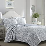 Laura Ashley 221081 Amberley Quilt Set, Twin, Spa Blue