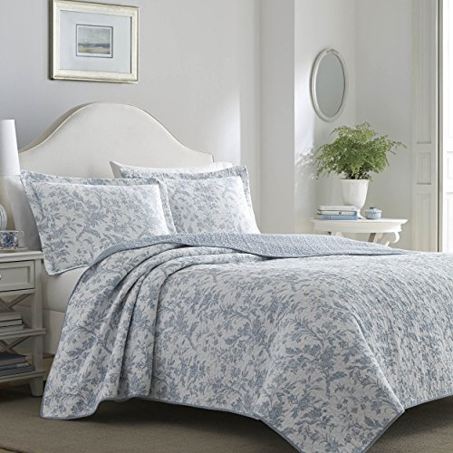 - Laura Ashley 221083 Amberley Quilt Set, King, Spa Blue