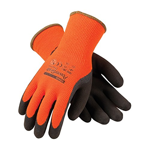 PowerGrab Thermo 41-1400/L Hi-Vis Seamless Knit Acrylic Terry Glove with Latex Micro Finish Grip on Palm and ()
