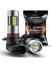 SEALIGHT 9145/9140/H10/9045/9040 LED Fog Light Bulbs, 6000K Xenon White, 27 SMD Chips, 360-degree Illumination, Non-polarity