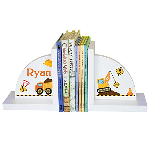 Personalized Bookends (Boy's Personalized Construction Bookends)