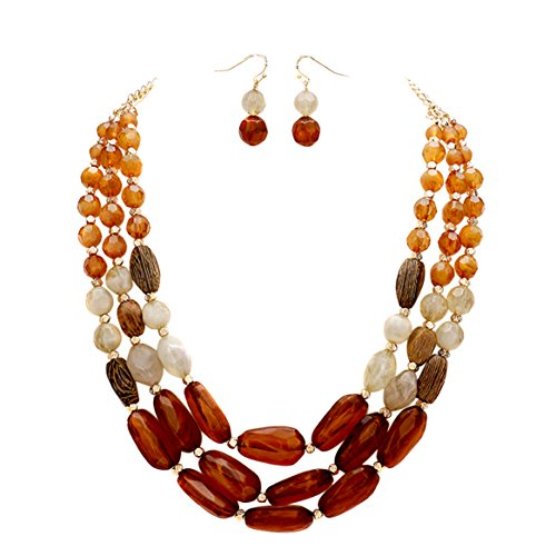 Pebbles Costumes Ideas (Rosemarie Collections Women's Triple Strand Pebble Statement Necklace Earrings Set (Brown))