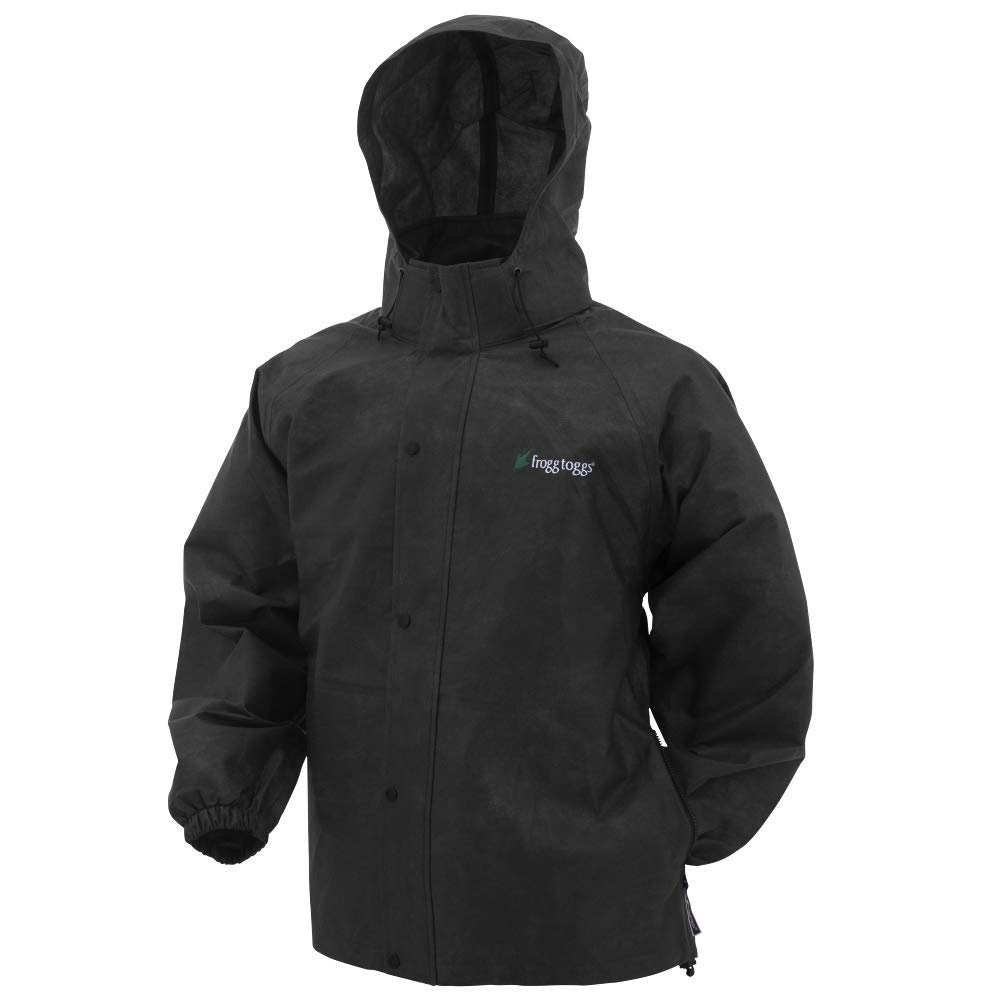 Frogg Toggs Pro Action Rain Jacket, Black, Size Small