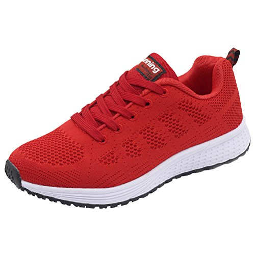 JARLIF Women's Breathable Fashion Walking Sneakers Lightweight Athletic Tennis Running Shoes (8.5 B(M), Red) in USA
